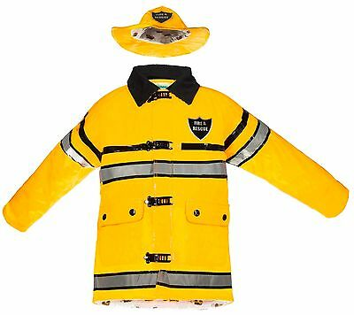 Splashy Kids Fireman Rain Jackets & Hats - Size 4, Yellow, Great for - Fireman Hats For Kids