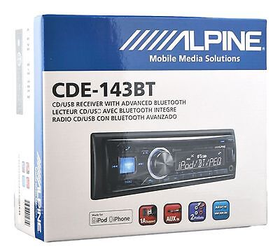 Alpine CD MP3 Car Stereo Front USB & AUX Inputs Bluetooth Built-In CDE-143BT