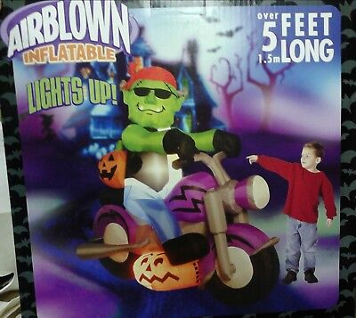 5 FT Long Airblown Inflatable  Halloween Monster on a Motorcycle , Brand New