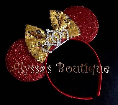 Minnie Mouse Shiny Red Ears Headband Gold Sequin Bow Sparkly Silver Tiara Party Gold Sequin Tiara