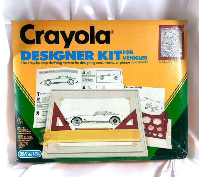 VINTAGE 1989 CRAYOLA DESIGNER KIT FOR VEHICLES 5605 DRAWING / TRACING SET KIT