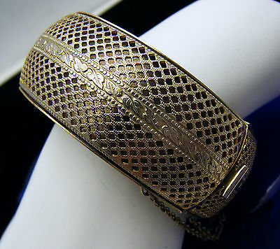 Rare Signed Schrager Vintage Bracelet Hinged Wide Bangle Mesh Open Work  on Lookza