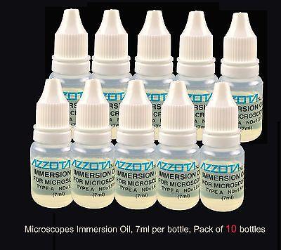 10 Bottles Azzota Microscopes Immersion Oil 7ml 14 Oz Each