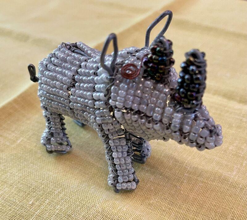 African Handmade Beaded Standing Wire Rhinoceros Animal Figurine, Gray