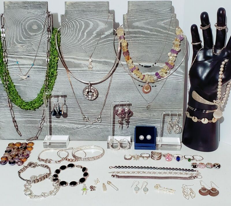 Sterling Silver 925 Jewelry Lot Necklaces, Bracelet, Earrings, Rings, 600 grams.