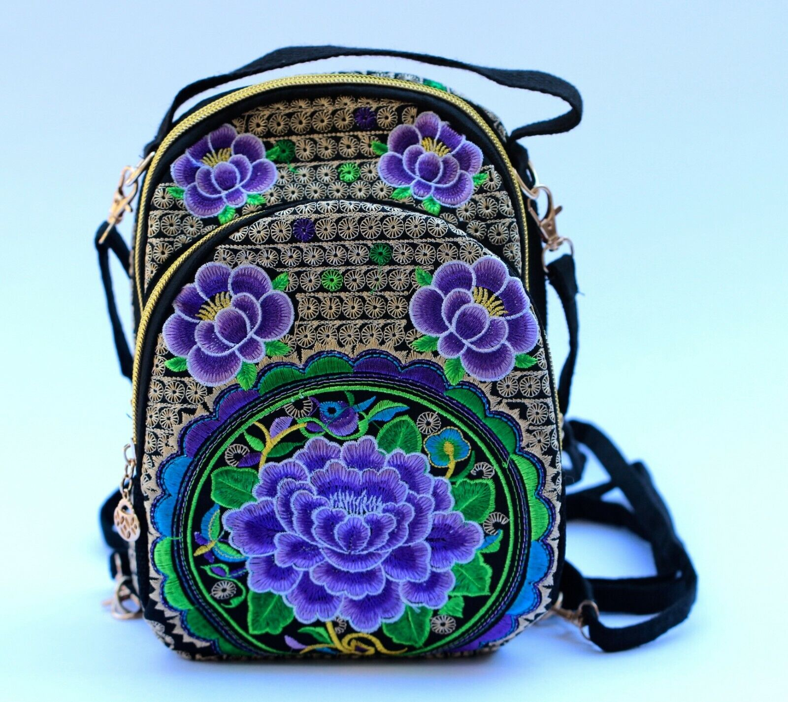 Women Small Embroidered Flower Floral Backpack Travel Handba