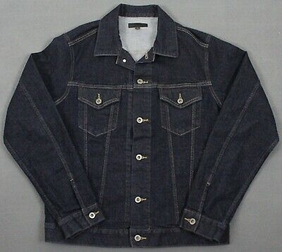 Uniqlo Jean Denim Dark Wash Trucker Jacket Blue Mens Large