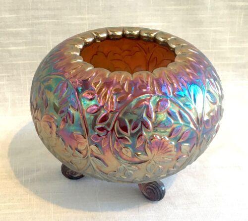Vintage Carnival Amethyst Glass Footed Rose Bowl, Westmoreland Louisa