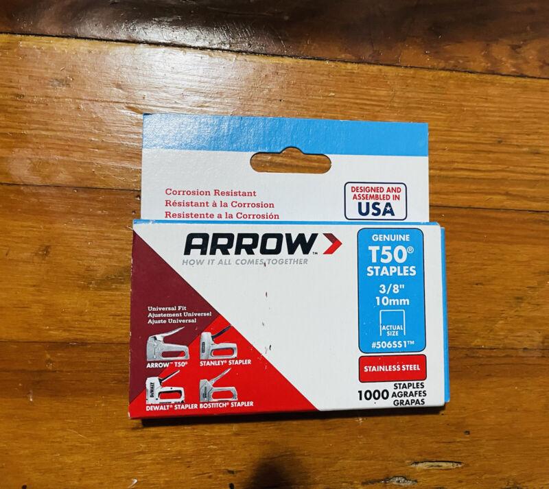 Arrow Genuine T50 Staples 3/8 10mm #506SS1 Stainless Steel 1000 Staples