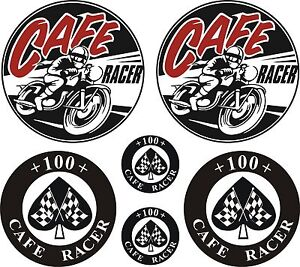 CAFE-RACER-Chequered-Flag-100-Ace-Stickers-Decals-Triumph-BSA-Norton-Triton