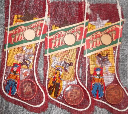 "RARE Vtg 9"" Mesh Christmas Stocking W/Paper Soldiers Label 1960s/70s NOS Toys"