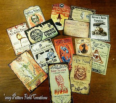 14 Halloween Vintage prim Witch Apothecary potion bottle Label stickers Series 2