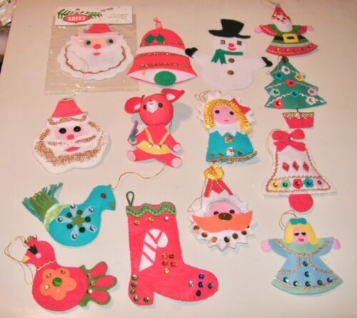 Vintage Colorful Felt Christmas Ornaments - Made In Japan  - Lot of 14