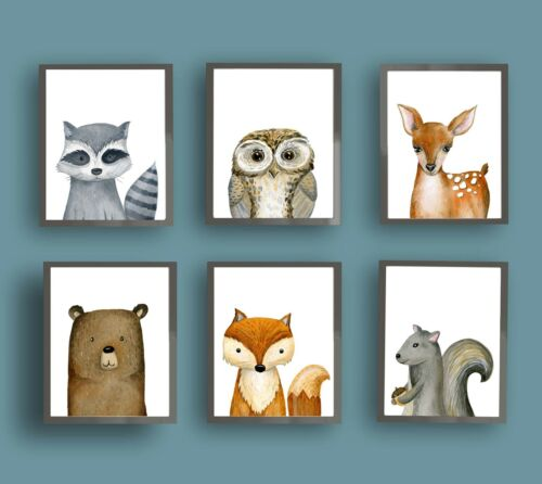 Woodland Baby Forest Animals Wall Art Prints for Boy Girl Nursery Bedroom