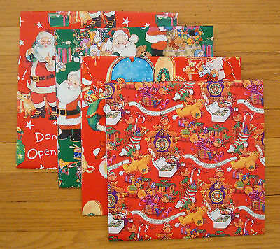 Children's Christmas Wrapping Paper Gift Wrap 4 Sheets Santa