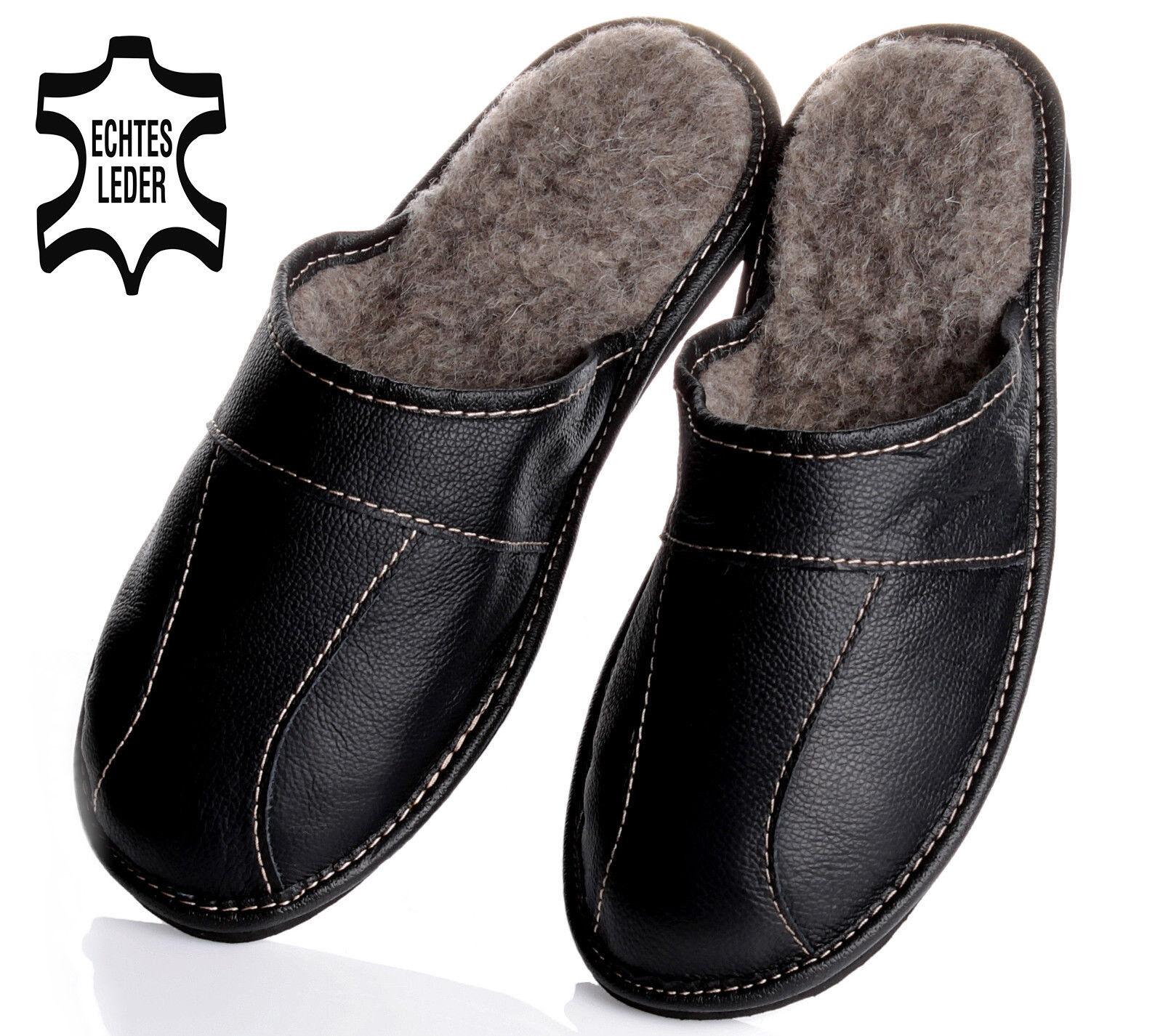Bis Schuhgröße 50 Herren LEDER Winter HausSchuhe mit SCHAFWOLLE gefüttert NEU !!