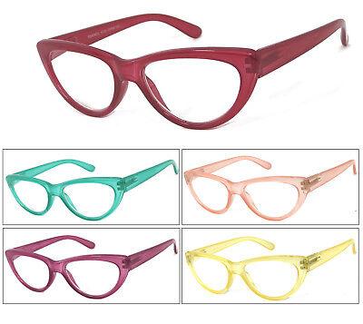 1 or 3 Pair Cat Eye Translucent Colorful Frame Full Lens Reading Glasses (Colored Translucent Glasses)