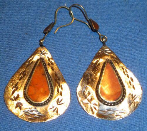 """Earrings Teardrop Carnelian Afghan Kuchi Tribal Alpaca Silver 2"""""""