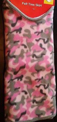 Camo Christmas Tree (Tree Skirt Camouflage Pink Holiday Style Gray Trim Christmas Plush 40