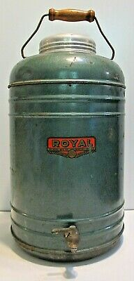 VINTAGE ROYAL MFG. CO. THERMAL INSULATED JUG STEEL PICNIC COOLER 1940s WORKS!
