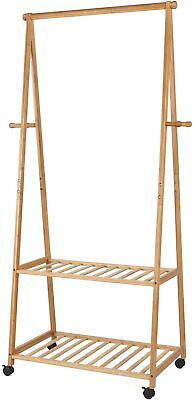 Homfa Bamboo Rolling Clothing Rack With Storage Box Shelves And Hooks