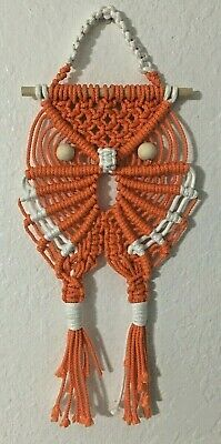 Cape Coral Burrowing Owl macrame wall decor Orange Color - Buho - Lechuza