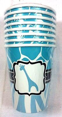 Wild Safari Blue 9 oz Paper Cups Birthday Baby Shower Party Supplies Decor 7-10B](Wild Safari Blue Baby Shower)