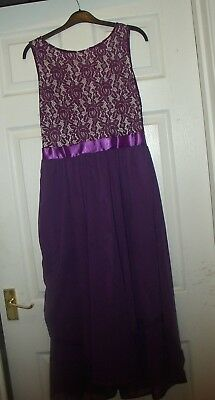 (PROM DRESS PURPLE LACE /CHIFFON SKIRT CALF LENGTH OR FULL LENGTH 12 -14  PRESENT)