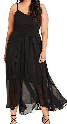(City Chic Black Smocked Waist Maxi Dress Plus Small Size 16 FTC #6668)