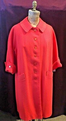 Beautiful Vintage Coral Pink Wool Car Coat w/ Three Quarter Reversed Sleeves  Three Quarter Car Coat