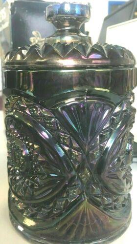 """L👀K  Vintage Imperial Glass Hobstar Carnival Amethyst Canister Biscuit Jar - 8"""""""