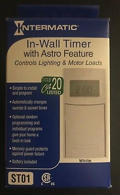 INTERMATIC ST01 Programable 7 Day In-Wall Timer White New In Box