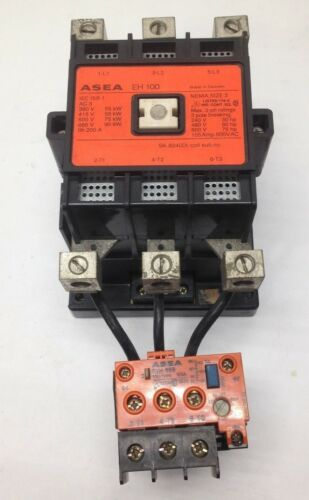 Asea EH-100 Contactor 105A 600V 3P Nema Size 3 120V Coil RVH-65B Overload Relay