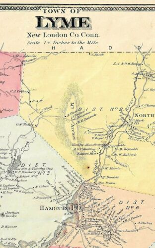 1868 LYME, CT., HAND COLORED MAP IN GOOD CONDITION, NOT A REPRINT.