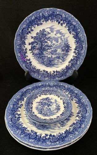 """Grindley ENGLISH COUNTRY STYLE BLUE Transferware 10"""" Dinner Plates Lot of 4 +"""