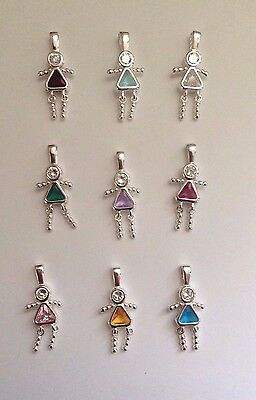 (925 Sterling Silver GIRL Birthstone Charm Pendant Cubic Zirconia Most Month Baby)