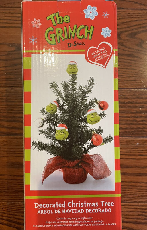 """The Grinch Dr. Seuss Decorated Christmas Tree 16"""" Tall Decorated Ornaments New"""