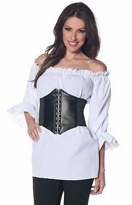 Womens Ruffled Pirate Shirt Renaissance Colonial 3/4 Vampire Blouse- S 6-8