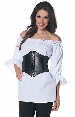Womens Ruffled Pirate Shirt Renaissance Colonial 3/4 Vampire Blouse - L 14-16](Renaissance Vampire Costume)