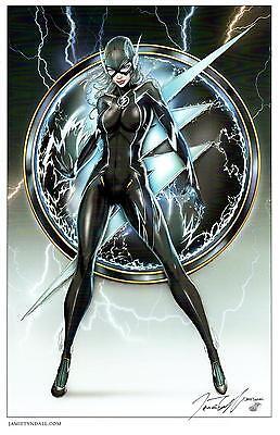 JAMIE TYNDALL -  LADY FLASH BLACK COSTUME ART PRINT - SIGNED 11X17](Black Flash Costume)