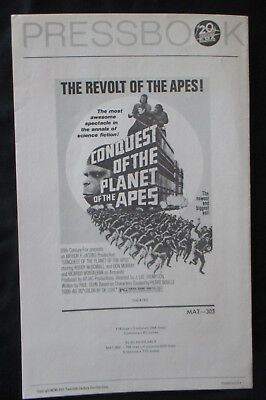 Original Vintage 70s Conquest of the Planet of the Apes Pressbook and Newspaper