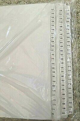 New 151 - 225 Exhibit Divider Tabs 25 Tabs Each 75 Tabs Total