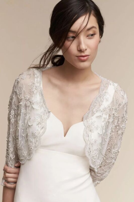NEW BHLDN MOYNA COUTURE CAPELET SABINA JACKET TOPPER WEDDING IVORY PEARL XS S M