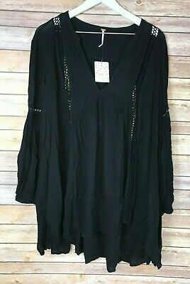 NWT FREE PEOPLE Womens' Black Babydoll Lace Inset Swing Tunic Top Shirt Medium