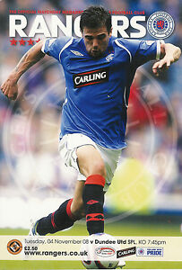 RANGERS-v-DUNDEE-UNITED-4-Nov-2008-FOOTBALL-PROGRAMME