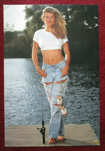 Sexy Girl Beer Poster Miller High Life ~ Jeans Fishing Rod Pier Stringer of Cans