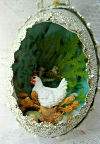 Vintage Handmade Christmas/Easter Ornament - REAL EGG DIORAMA HEN