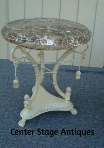 61443 Romantic Shabby Decorator Marble Top Lamp Table Nightstand