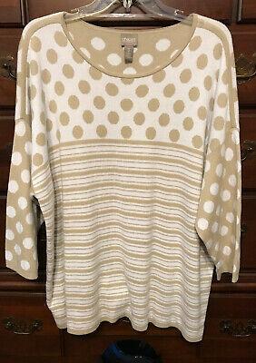 Ecru Dot (Chico's Putty/Ecru Dot Stripe Nellie Pullover Sweater Size 3 (16/18))