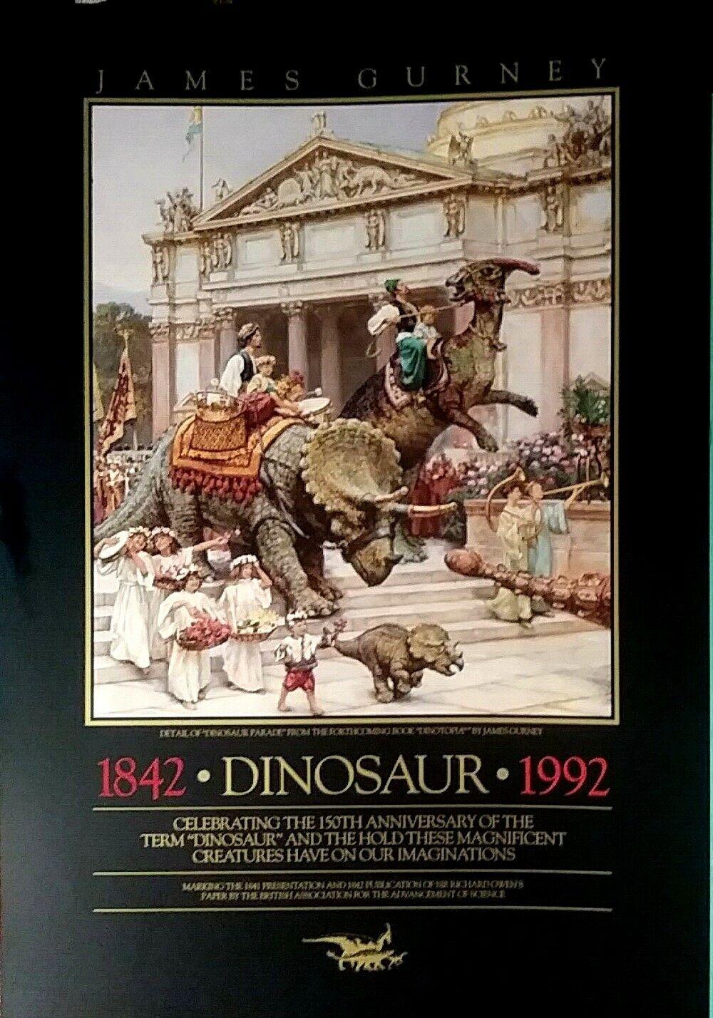 "DINOSAUR PARADE JAMES GURNEY DINOTOPIA POSTER, 18x26"" VINTAGE ORIGINAL 1992 MINT"